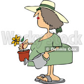 Clipart Woman Holding A Potted Flower And Watering Can - Royalty Free Vector Illustration © Dennis Cox #1114224