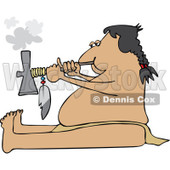 Clipart Native American Man Smoking A Pipe - Royalty Free Vector Illustration © Dennis Cox #1114227