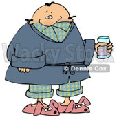 Ill Man in PJs, Slippers and a Robe, Taking Cold Medicine While Staying Home on a Sick Day Clipart Picture © Dennis Cox #11144