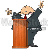 Silly Man at a Podium Giving a Passionate Public Speech and Gesturing Peace Symbols Clipart Picture © Dennis Cox #11146