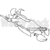Clipart Outlined Flying Witch Holding Onto Her Fast Broom - Royalty Free Vector Illustration © Dennis Cox #1114953