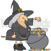 Clipart Witch Checking Her Watch While Making A Spell In Her Cauldron - Royalty Free Vector Illustration © djart #1115114
