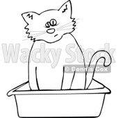 Clipart Outlined Cat Using A Kitty Litter Box - Royalty Free Vector Illustration © Dennis Cox #1115117