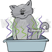 Clipart Cat Using A Stinky Kitty Litter Box - Royalty Free Vector Illustration © Dennis Cox #1115118
