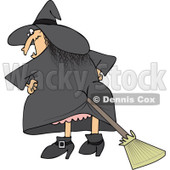 Clipart Halloween Witch With A Broom Stuck In Her Butt - Royalty Free Vector Illustration © djart #1115679