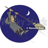 Clipart Halloween Witch Hanging Onto A Flying Broom In A Blue Night Sky - Royalty Free Vector Illustration © djart #1115682