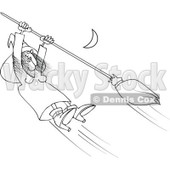 Clipart Outlined Halloween Witch Hanging Onto A Flying Broom In A Night Sky - Royalty Free Vector Illustration © djart #1115683