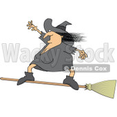 Clipart Halloween Witch Flying And Standing On A Broom - Royalty Free Vector Illustration © djart #1115684
