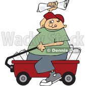 Clipart Paper Boy Sitting In A Wagon And Tossing Newspapers - Royalty Free Vector Illustration © Dennis Cox #1115686