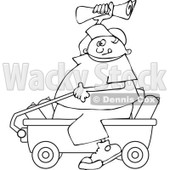 Clipart Outlined Paper Boy Sitting In A Wagon And Tossing Newspapers - Royalty Free Vector Illustration © djart #1115687