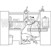 Clipart Outlined Man Singing And Listening To Music In His Office Cubicle - Royalty Free Vector Illustration © djart #1115689