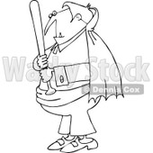 Clipart Outlined Vampire Holding A Baseball Bat - Royalty Free Vector Illustration © djart #1115691