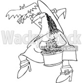Clipart Outlined Halloween Witch With A Bat And A Basket Of Eyeballs - Royalty Free Vector Illustration © djart #1115840
