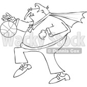 Clipart Of An Outlined Sporty Halloween Vampire Playing Basketball - Royalty Free Vector Illustration © djart #1116711