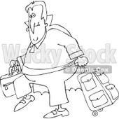 Clipart Of An Outlined Traveling Halloween Vampire With Luggage - Royalty Free Vector Illustration © djart #1116712