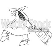 Clipart Of An Outlined Traveling Halloween Witch Pulling Pink Rolling Luggage - Royalty Free Vector Illustration © djart #1116713