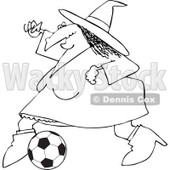 Clipart Of An Outlined Sporty Halloween Witch Playing Soccer - Royalty Free Vector Illustration © djart #1116715