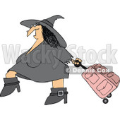 Clipart Of A Traveling Halloween Witch Pulling Pink Rolling Luggage - Royalty Free Vector Illustration © djart #1116716