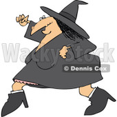 Clipart Of A Halloween Witch Running - Royalty Free Vector Illustration © djart #1116717