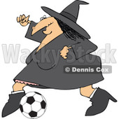 Clipart Of A Sporty Halloween Witch Playing Soccer - Royalty Free Vector Illustration © djart #1116718