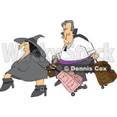 Clipart Of A Traveling Halloween Witch And Vampire With Luggage - Royalty Free Vector Illustration © Dennis Cox #1116719