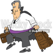 Clipart Of A Traveling Halloween Vampire With Luggage - Royalty Free Vector Illustration © djart #1116721