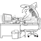 Cartoon Of An Outlined Halloween Vampire Using A Computer At An Office Desk - Royalty Free Vector Clipart © djart #1118152