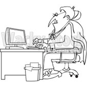 Cartoon Of An Outlined Halloween Vampire Using A Computer At An Office Desk - Royalty Free Vector Clipart © djart #1118154