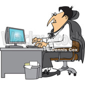 Cartoon Of A Halloween Vampire Using A Computer At An Office Desk - Royalty Free Vector Clipart © Dennis Cox #1118155