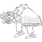 Cartoon Of An Outlined Vampire Releasing Bats - Royalty Free Vector Clipart © djart #1119531