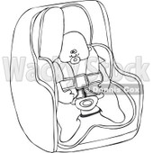Cartoon Of An Outlined Baby In A Car Seat - Royalty Free Vector Clipart © djart #1119532