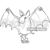 Cartoon Of An Outlined Flying Dog Bat - Royalty Free Vector Clipart © djart #1119533