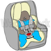 Cartoon Of An African American Baby Boy In A Car Seat - Royalty Free Clipart © Dennis Cox #1119534