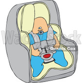 Cartoon Of A Caucasian Baby Boy In A Car Seat - Royalty Free Vector Clipart © Dennis Cox #1119537