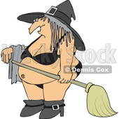 Cartoon Of A Halloween Witch In A Bikini - Royalty Free Vector Clipart © Dennis Cox #1119539