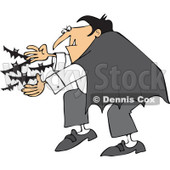 Cartoon Of A Vampire Releasing Bats - Royalty Free Vector Clipart © djart #1119541