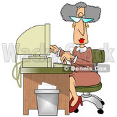 Gray Haired Secretary Woman Working at a Computer Desk in an Office Clipart Illustration © djart #11199