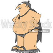 Cartoon Of A Halloween Vampire In Sandals A Cape And Swim Suit - Royalty Free Vector Clipart © Dennis Cox #1120052
