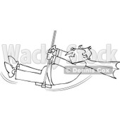 Cartoon Of An Outlined Halloween Vampire Swinging - Royalty Free Vector Clipart © Dennis Cox #1120053
