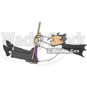 Cartoon Of A Halloween Vampire Swinging - Royalty Free Vector Clipart © djart #1120054
