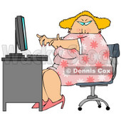 Overweight Blond Secretary Woman Working at a Computer Desk in an Office Clipart Illustration © Dennis Cox #11201