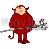 Fat Man in a Red Devil Costume, Carrying a Pitchfork Clipart Picture © djart #11202