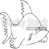 Cartoon Of An Outlined Grumpy Fish - Royalty Free Vector Clipart © djart #1121970