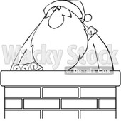 Cartoon Of An Outlined Santa In A Chimney - Royalty Free Vector Clipart © djart #1121971