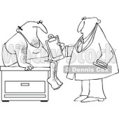 Cartoon Of An Outlined Medical Doctor Examining A Male Patient - Royalty Free Vector Clipart © djart #1121974