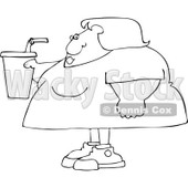 Cartoon Of An Outlined Obese Woman Holding A Fountain Soda - Royalty Free Vector Clipart © djart #1121977