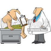 Cartoon Of A Medical Doctor Examining A Male Patient - Royalty Free Vector Clipart © djart #1121979