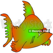 Cartoon Of A Grumpy Green And Orange Fish - Royalty Free Clipart © djart #1121980