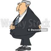 Cartoon Of A Caucasian Businessman Holding His Stomach And Behind - Royalty Free Vector Clipart © djart #1121982