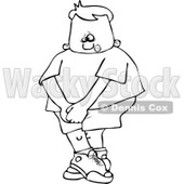 Cartoon Of An Outlined Boy Needing To Use The Restroom - Royalty Free Vector Clipart © djart #1123794